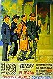 Manifesto pubblicitario costituito da una placca metallica con disegno retro vintage della Catalunia/Spagna. Tin sign. 50 cm x 33,50 cm (ANIS EL GORDO)