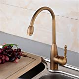 Hlluya Wasserhahn für Waschbecken Küche Antike Küche Wasserhahn Becken aus Bronze Mischpult alle Kalt- und Warmwasser Mischventil Single Handle Faucet Kitchen Sink Mixer