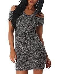 JELA London Damen Kleid Träger V-Ausschnitt Stretch Feinstrick Strickkleid Kurzarm Schulterfrei Etui Abend