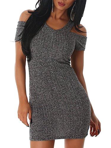 Damen Kleid Träger V-Ausschnitt Stretch Feinstrick Strickkleid Kurzarm Schulterfrei Schwarz 36 bis 38