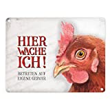 Metallschild mit Huhn Motiv und Spruch: Betreten auf eigene Gefahr - Hier wache ich! Aluminiumschild Blechschild Werbeschild Türschild Warnschild Huhn Hühnchen Bauernhof Hühnerstall Haustier Schild