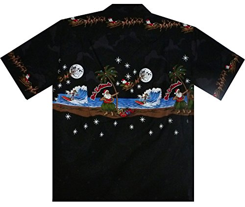Originario Camicia Hawaiana, Natale, Breast pressure nero S-4XL Nero