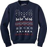 Crazy Dog Tshirts - Humping Moose Funny Ugly Christmas Holiday Unisex Crew Neck Sweatshirt (Navy) XL - Herren - XL