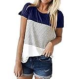 kobay Frauen Kurzarm Dreifach Farbe Block Streifen T-Shirt Casual Bluse