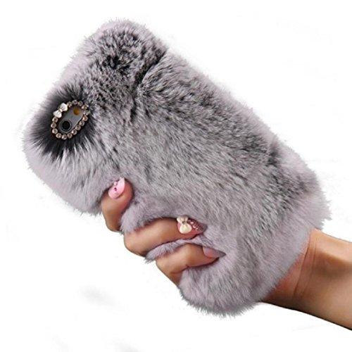 Vovotrade Pour iPhone 5 / 5s Fluffy Villi fourrure en peluche Laine Housse + PEN + Film