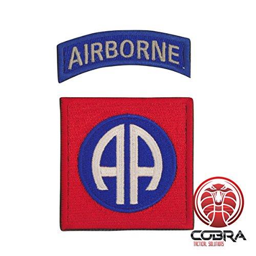 Kostüm Skull Der Red - 82nd Airborne Division Embroidery Tactical US Army Patch Red Blue mit Klettverschluss Airsoft