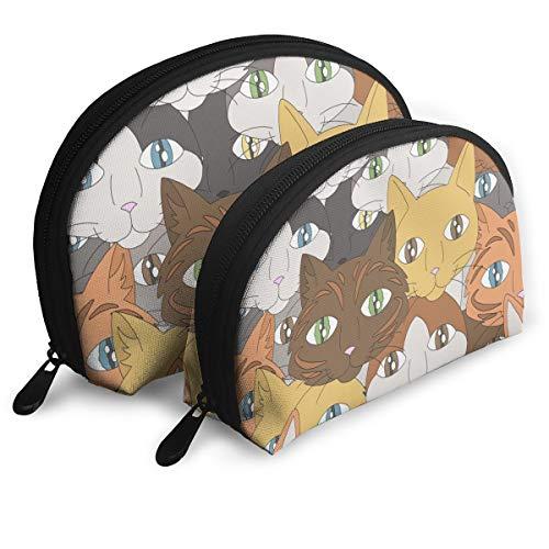 Eine Darstellung der Gesichter verschiedener Arten von Hauskatzen. Raster Kosmetiktasche Clutch Tragbare Taschen Handtasche Organizer mit Reißverschluss 2tlg