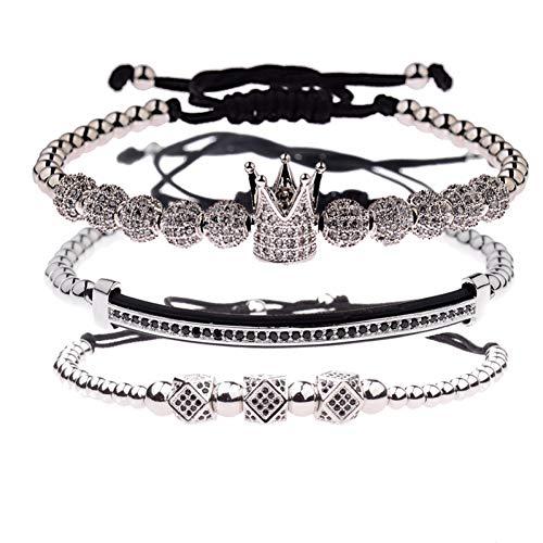 Imagen de ygsvt pulsera bola cz crown charm pulseras de macramé con cuentas de cobre hombres pulseras y brazaletes hechos a mano para mujeres