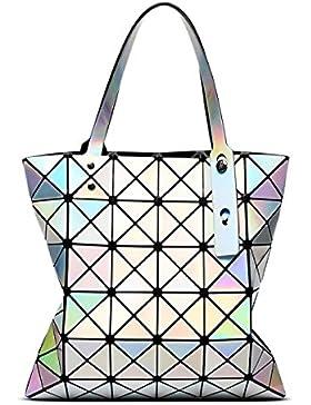 STRAWBERRYER Sommer Handtasche Damen Geometrische Naht Falten Schulter Taschen Aktenkoffer