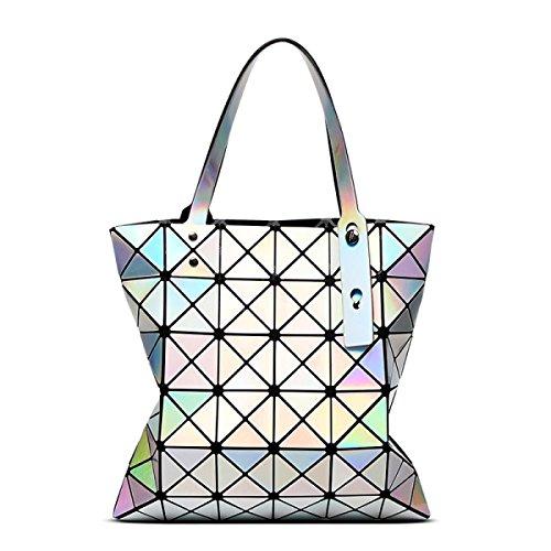 FZHLY Ms. Geometriche Borse Pieghevole Da 6 Cellulare Spalla Laser Bag,LaserPurple LaserSilver