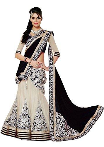 Super Deal Woman\'s Black Georgette Anarkali Semi-stitched Lehenga Choli (Indian Traditional Ghaghra Choli)