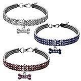 Alaof Hundehalsband Bling Strass Halsband Schick 3 Pack Hund Halskette,3pack,L