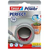 Tesa extra Power Perfect - Cinta adhesiva (tejido, 2,75 m x 38 mm) color gris