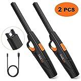 TACKLIFE 2 Stück Stabfeuerzeuge, ELY09 elektronisches Feuerzeug der Neuen Generation, 300 Male Zündung Pro Ladung, flammenloser USB Anzünder mit Sicherheitsschalter & langem Griff, Ideal für Camping