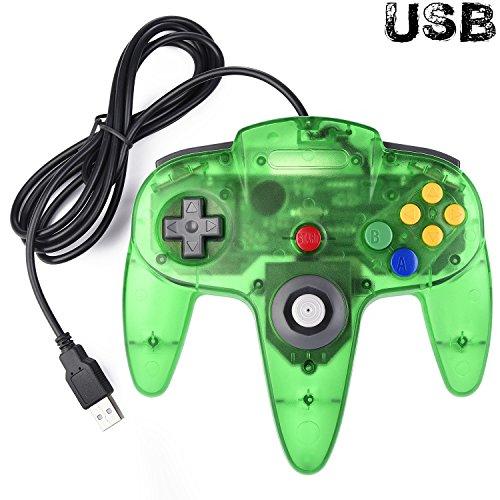 Classic N64 Controller, iNNEXT N64 Wired USB PC Game Pad Joystick N64 Bit USB Wired Game Stick Joy Pad Controller für Windows PC Mac Linux Raspberry Pi 3 Sega Genesis Higan (Jungle Green)