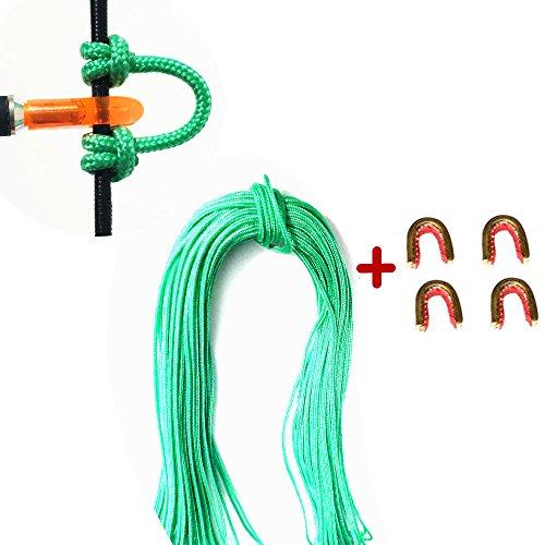 Hohe Qualität Bogenschießen Compoundbogen String Release D Loop Seil mit 4 Stück Messing Nocke Schnalle Clip (Grün)