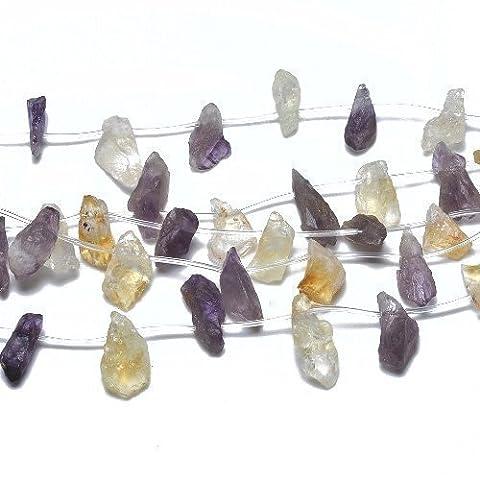 Paquet 10+ Pourpre/D'Or Amétrine env. 12 x 20mm Perles Rugueux Nuggets - (GS14908) - Charming Beads