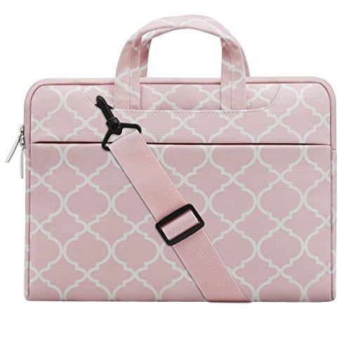 MOSISO Notebooktasche für 13-13,3 Zoll MacBook Pro, MacBook Air, Notebook Computer Quatrefoil Stil Laptop Schultertasche Sleeve Hülle mit Griff und Schulterriemen als Messenger Bag, Rosa