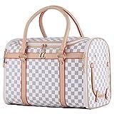 Groß Transporttasche Hundebox Katzenbox Tragetasche für kleine Hunde bis 5kg Hundetasche Wasserdicht 43x30x23cm PC19 (weiß)