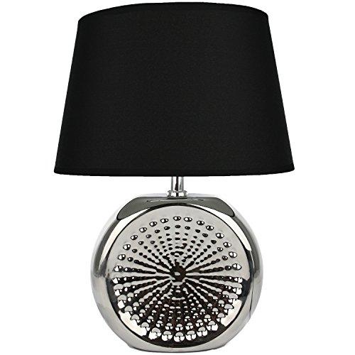 Tischlampe aus Keramik schwarz silber Tischleuchte Lampe Leuchte Nachttischlampe Leselampe Stehlampe Nachttisch Keramik
