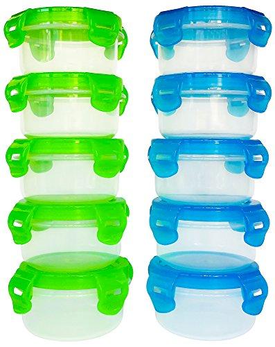 Preisvergleich Produktbild elacra Baby Frischhaltedosen BPA frei gefriergeeignet mikrowellengeeignet luftdichter Kleine Behälter Set, 10Stück, 3,4oz