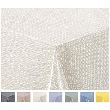 Home Direct Nappe Toile Cir/ée PVC Rectangulaire 140 x 200 cm /à Pois Gris Clair