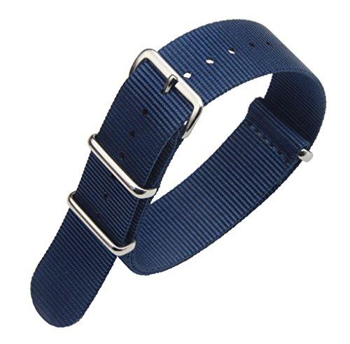 20mm dunkelblau Luxus exquisiter Männer einteiliger NATO Stil Nylon Perlon Uhrenarmbänder Bänder Textil (Textil-band)