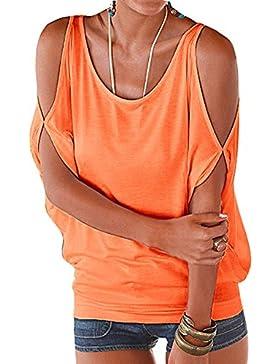 Juleya Camisa Mujer Gran Tamaño Top de Verano Mujeres Camiseta Blusas Sueltas de Color LISO Ropa de Manga Murciélago...