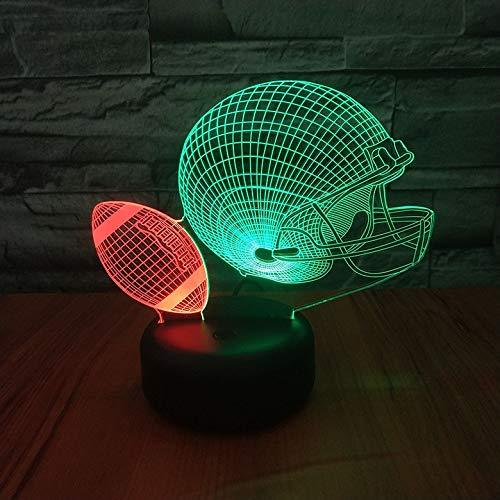 Hlsgmv Nachtlicht Des Amerikanischen Football-Helms 3D Schlug Farbromanbeleuchtungsschlafzimmerdekorationslichtkinderkindergeschenk Geführtes Nachtlicht
