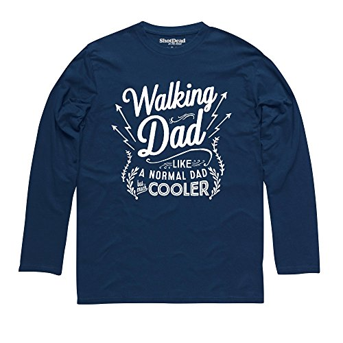 Walking Dad Langarmshirt Funny Novelty Gift, Herren Dunkelblau