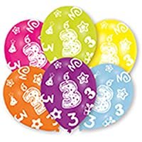 amscan All Round Printed Age 3, 6 Latex Balloons 27.5cm
