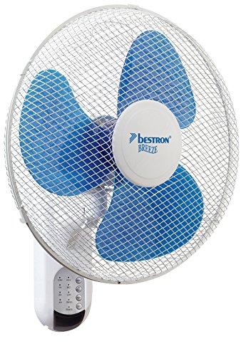 Bestron DWF40REM - Ventilador de pared con mando a distancia (40 cm), color blanco y azul