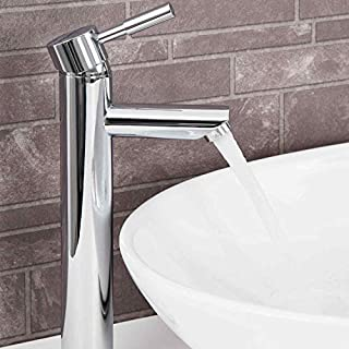 Modern Bathroom Round High Rise Tall Basin Mixer Tap Brass Single Lever Chrome