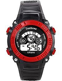 Coolboss niños reloj deportes al aire libre niños niños niñas LED Digital Alarma Cronómetro Resistente Al Agua Reloj De Pulsera De Los Niños Vestido de relojes, color rojo