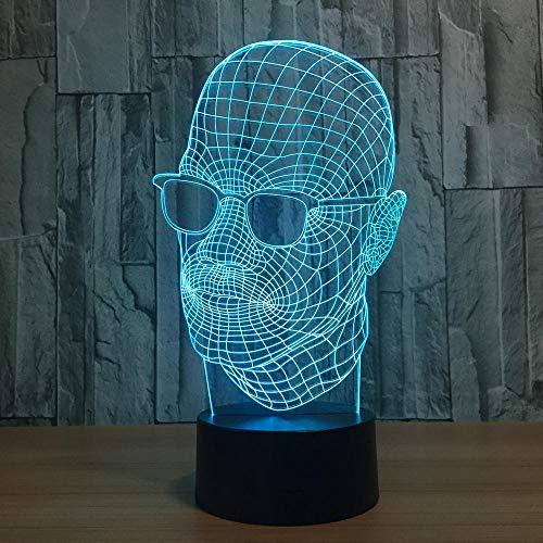 3D Nachtlicht Neuheit 7 Farben ändern Acryl Sonnenbrille Mann Modellierung 3D Nachtlicht LED Schreibtisch TischlampeInnendekor Schlaf Beleuchtung Geschenke
