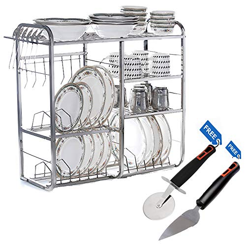 Home Creations 24 Inch Wall Mount Kitchen Dish Rack Plate Cutlery Stand / Kitchen Utensils Rack / Modern Kitchen Storage Rack