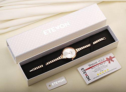 ETEVON Women's Quartz Rose Gold Armband Uhr mit High-End Edelstahl Case, elegante Luxus-Gold-Tone Kleid Handgelenk Uhren für Damen - 2