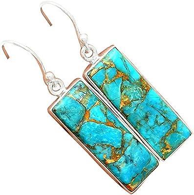 Lovegem Blue Copper Turquoise, Azul turquesa de cobre 925 Plata de Ley Pendientes,43 mm, AE1444