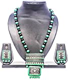 #6: Pentacrafts Terracotta Art designed Women Girl Necklace Set, Color: Emerald & Black