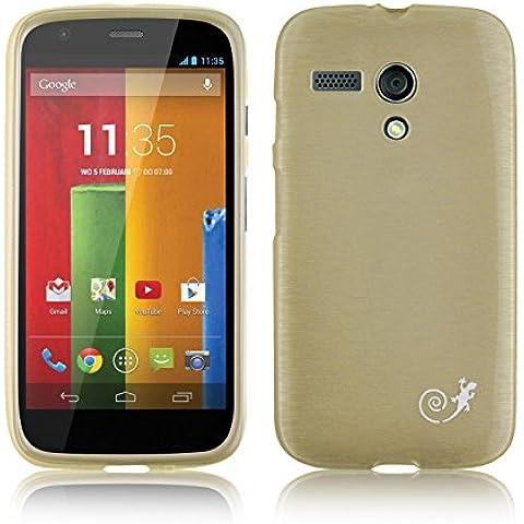 JAMMYLIZARD | Carcasa Para [ Motorola Moto G (1ª Gen) ] De Silicona Efecto Nacarado Metalizado Back Cover, DORADO