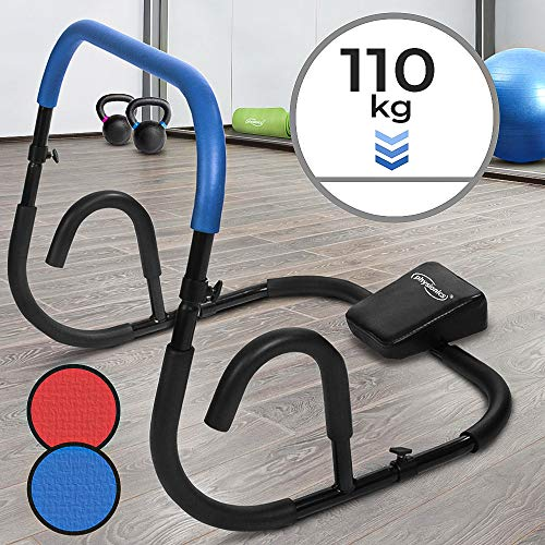Physionics Bauchtrainer - Blau/Rot, für Sit Ups, mit Rutschfesten Griffflächen (Max. 110kg) - Ab Trainer, Roller, Bauchmuskeltrainer, Fitnessgerät (Blau)