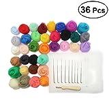 OUNONA Needle Felting Wool Set per Arte Manufatto Fai Da Te 36 colori (5g ogni colore)