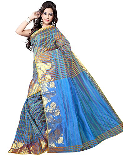 VASTRAKALA Supernet Multi Checks Saree with Zari Skart Border(Blue)