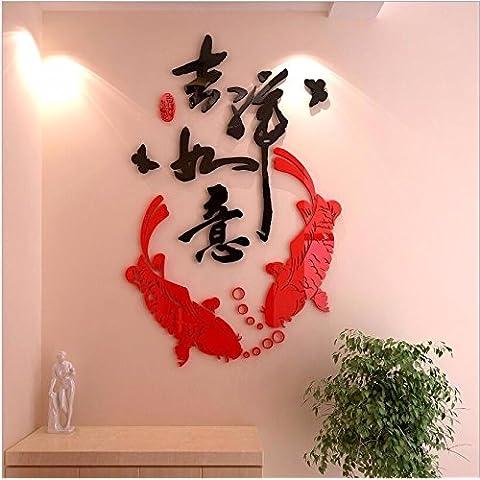 T-Mida Home,Specchio dolce creativo decorare la camera da letto soggiorno sala da pranzo TV sfondo muro estetica 3D acrilico stereo wall stickers,Buona fortuna 72 * 110cm