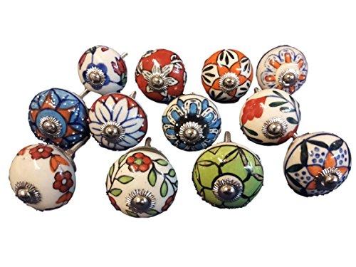 Keramik-griff (12x mix Vintage Look Blume Keramik Knöpfe Tür Griff Schrank Schublade Pull rund)