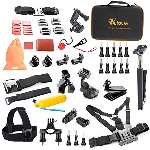 kitway Sport Kit di accessori per GoPro Hero 4/3 +/3/2/1/sj4000/sj5000/sj6000 (50-in-1)