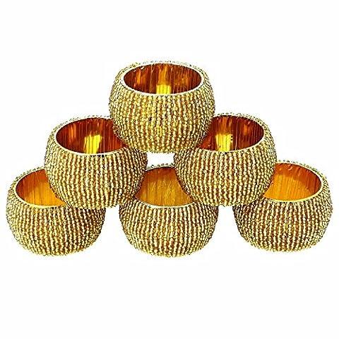 Set von 6 - Eleganz Perlen Runde Serviettenringe Golden - Handgefertigt Serviette für Stoffserviette - Durchmesser 6,5
