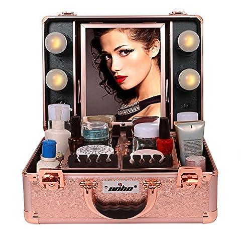 UNHO® Valise Maquillage Professionnel Rose Cadeaux Noël Beauty Case Trolley Boîte à Maquillage Malette Coiffure PVC pour Cosmétique et Bijoux Coffret Rigid avec LED Lumière
