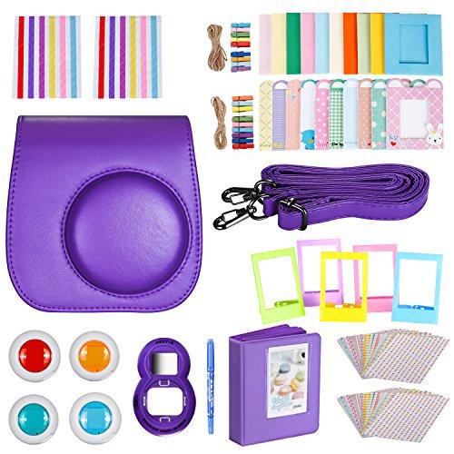 Neewer 10-en-1 Kit d'Accessoires Violet pour Fujifilm Instax Mini 9 8+ 8 8s: Housse de Caméra/ Album/ Objectif de Selfie / 4x Filtre de Couleur/ 5x Ca...