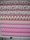 Lottashaus 7x Stoff Rosa Rosen Stoffpaket No19 Stoffe